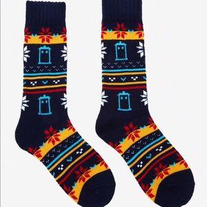 NWT Doctor Who: Size 4-10 Cozy Tardis Crew Socks